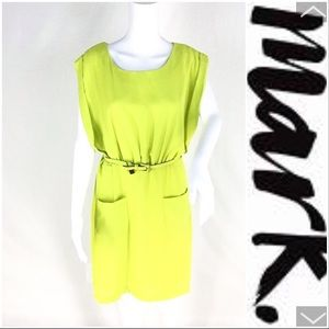 NWT Lime Green Belted Dress. Size Large